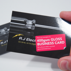 Business card: 400gsm Gloss Laminated front